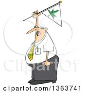 Cartoon Chubby White Businessman Shouting And Waving A Marijuana Flag