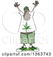 Clipart Of A Cartoon Black Man Wearing A Pot Leaf Shirt And Holding His Hands Up Royalty Free Vector Illustration by Dennis Cox