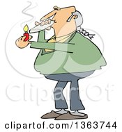 Clipart Of A Cartoon Chubby White Male Hippie Man Smoking A Joint Royalty Free Vector Illustration