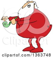 Clipart Of A Cartoon Christmas Santa Claus In Pajamas Lighting Up A Pot Pipe Royalty Free Vector Illustration