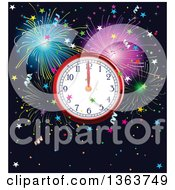 Clipart Of A New Year Wall Clock Striking Midnight Over Fireworks And Stars Royalty Free Vector Illustration