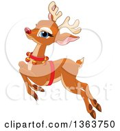 Clipart Of A Happy Red Nosed Christmas Reindeer Leaping Royalty Free Vector Illustration by Pushkin