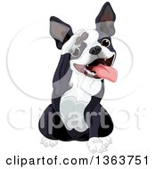 Clipart Of A Cute Saluting Boston Terrier Dog Royalty Free Vector Illustration by Pushkin