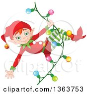 Clipart Of A Happy Male Red Haired Christmas Elf Swinging On A Strand Of Lights Royalty Free Vector Illustration
