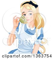 Clipart Of Alice Sipping Tea Royalty Free Vector Illustration by Pushkin