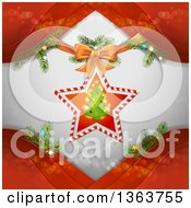 Clipart Of A Christmas Star And Tree Ornament Over Gray With Branches And Red Waves Royalty Free Vector Illustration