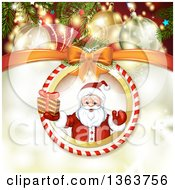 Clipart Of A Suspended Christmas Ornament With Santa Holding A Gift Over Gold Sparkles With Ornaments And Branches Royalty Free Vector Illustration