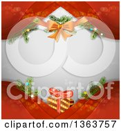 Clipart Of A Christmas Background With A Bow Branches And Gift Over Gray With Red Waves Royalty Free Vector Illustration