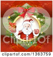 Clipart Of A Suspended Christmas Ornament With Santa Holding A Gift Over Branches And Red Waves Royalty Free Vector Illustration