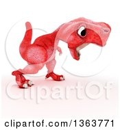 Clipart Of A 3d Red Tyrannosaurus Rex Dinosaur Roaring On A White Background Royalty Free Illustration by KJ Pargeter