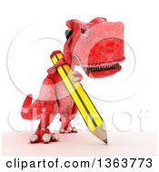 Clipart Of A 3d Red Tyrannosaurus Rex Dinosaur Writing With A Giant Pencil On A White Background Royalty Free Illustration