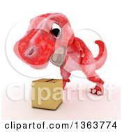 Clipart Of A 3d Red Tyrannosaurus Rex Dinosaur Roaring At A Box On A White Background Royalty Free Illustration by KJ Pargeter