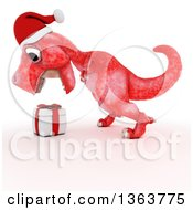 Clipart Of A 3d Red Tyrannosaurus Rex Dinosaur Roaring At A Gift On A White Background Royalty Free Illustration by KJ Pargeter