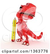 Clipart Of A 3d Red Tyrannosaurus Rex Dinosaur Standing With A Giant Pencil On A White Background Royalty Free Illustration