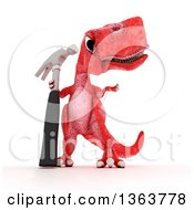 Clipart Of A 3d Red Tyrannosaurus Rex Dinosaur Holding A Hammer On A White Background Royalty Free Illustration