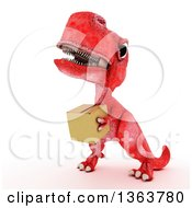 Clipart Of A 3d Red Tyrannosaurus Rex Dinosaur Carrying A Box On A White Background Royalty Free Illustration by KJ Pargeter