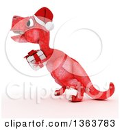 Clipart Of A 3d Red Tyrannosaurus Rex Dinosaur Carrying A Gift On A White Background Royalty Free Illustration by KJ Pargeter