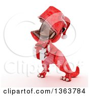 Clipart Of A 3d Red Tyrannosaurus Rex Dinosaur Roaring And Holding A Gift On A White Background Royalty Free Illustration