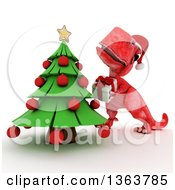 Clipart Of A 3d Red Tyrannosaurus Rex Dinosaur Putting A Gift Under A Christmas Tree On A White Background Royalty Free Illustration