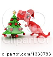 Clipart Of A 3d Red Tyrannosaurus Rex Dinosaur Trimming A Christmas Tree On A White Background Royalty Free Illustration by KJ Pargeter