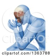 3d Blue Anatomical Man With Visible Facial Muscles And Head Pain Over White