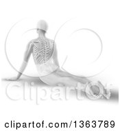 Clipart Of A 3d Grayscale Anatomical Man Stretching On The Floor In A Yoga Pose With Visible Spine On White Royalty Free Illustration