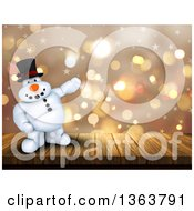 Clipart Of A 3d Snowman Standing On A Deck And Presenting Over Flares And Stars Royalty Free Illustration