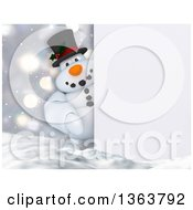 Clipart Of A 3d Snowman Looking Around A Sign In The Snow Royalty Free Illustration