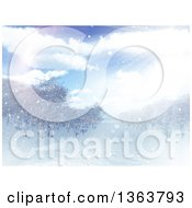 Clipart Of A 3d Winter Landscape Of Sunshine And Trees Royalty Free Illustration