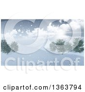 Clipart Of A 3d Winter Landscape Of The Sun Shining Over A Hill With Snow And Trees Royalty Free Illustration