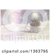 Clipart Of A 3d Winter Landscape Of An Evergreen Tree Snow And Sunshine With A Vintage Flare Royalty Free Illustration