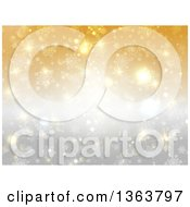 Clipart Of A Gradient Gold And Silver Snowflake Winter Or Christmas Background Royalty Free Vector Illustration