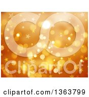 Clipart Of A Background Of Stars And Bokeh Flares Over Golden Orange Royalty Free Illustration