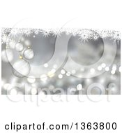 Clipart Of A Christmas Background Of Suspended 3d Silver Baubles Over Snowflakes And Flares Royalty Free Illustration