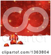 Clipart Of A Christmas Background Of 3d Baubles In Snow Over Red Snowflakes And Flares Royalty Free Vector Illustration by KJ Pargeter