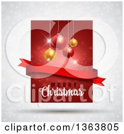 Clipart Of A Merry Christmas Greeting With Suspended Baubles And A Blank Ribbon Banner Over Red And Gray With Snowflakes And Stars Royalty Free Vector Illustration