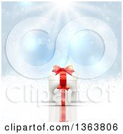 Clipart Of 3d White And Red Christmas Gifts Over A Blue Snowflake Background With Sunshine Royalty Free Vector Illustration