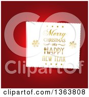 Clipart Of A Merry Christmas And A Happy New Year Greeting Label On Red Royalty Free Vector Illustration