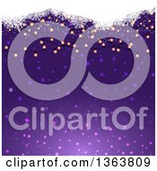 Clipart Of A Background Of Christmas Lights And Snowflakes Over Purple Stars Royalty Free Vector Illustration