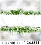 Clipart Of A Frame Of Snowflakes And Christmas Tree Branches Over Bokeh Flares Royalty Free Vector Illustration