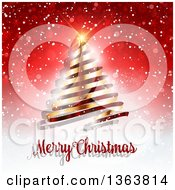 Clipart Of A Merry Christmas Greeting Under A Gold Ribbon Tree On Red Snowflakes And Flares Royalty Free Vector Illustration