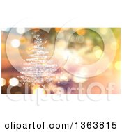 Clipart Of A White Glitter Magic Christmas Tree Over Bokeh Lights Royalty Free Illustration