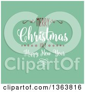 Clipart Of A Merry Christmas And A Happy New Year Greeting On Retro Green Royalty Free Vector Illustration by KJ Pargeter
