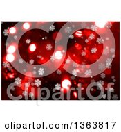 Clipart Of A Background Of Snowflakes And Bokeh Flares Over Red Royalty Free Illustration