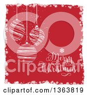 Doodled Merry Christmas Greeting And Suspended Ornaments Over Red With A Snowflake Border