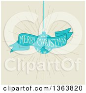 Clipart Of A Retro Merry Christmas Greeting On A Blue Ribbon Banner With A Snowflake Bauble Over Beige Royalty Free Vector Illustration