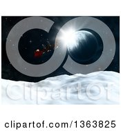 3d Santa Flying His Magic Sleigh Over A Planet And Snowy Hills