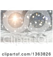 Clipart Of A 3d Winter Landscape Of Snowy Hills Sunshine Snowflakes Stars And Flares Royalty Free Illustration