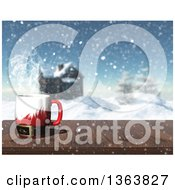 Clipart Of A 3d Hot Santa Suit Cup Of Coffee On A Wood Table With A Winter Landscape And Log Cabin View Royalty Free Illustration by KJ Pargeter