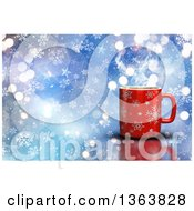 Clipart Of A 3d Hot Cup Of Coffee Over Blue With Flares And Snowflakes Royalty Free Illustration